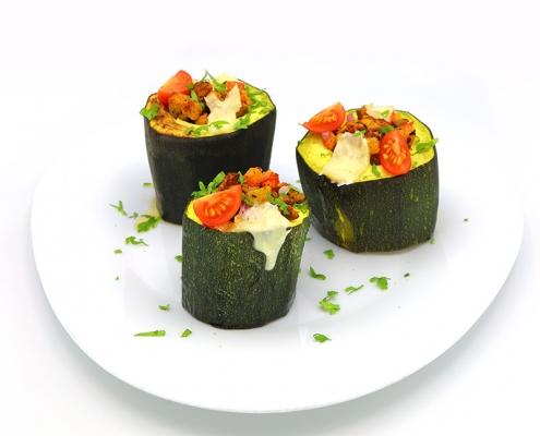 Tacos de calabacín con soja texturizada
