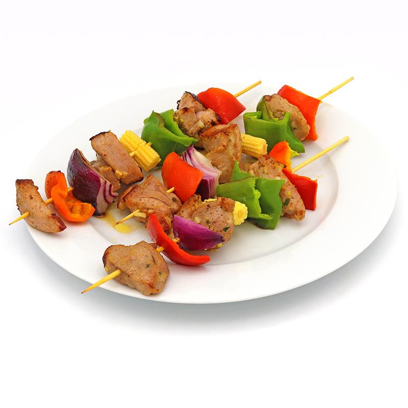Pinchos de pollo y verduras