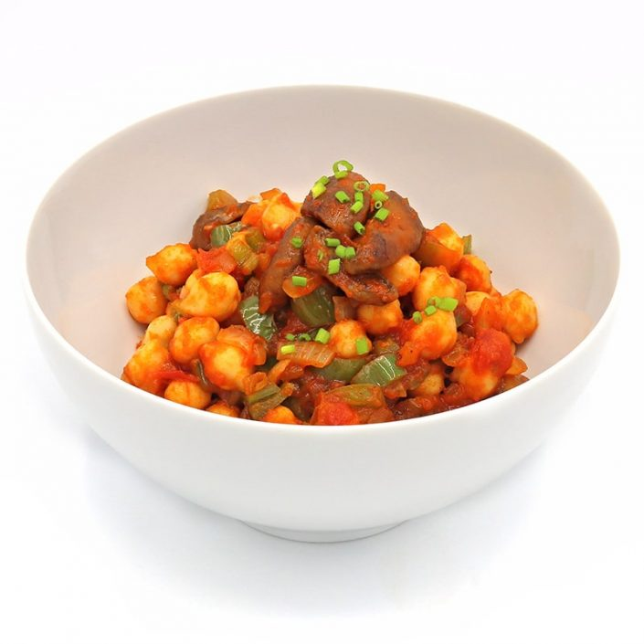 Salteado de garbanzos y verduras