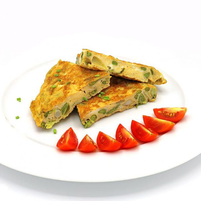 Tortilla de ajos tiernos con espárragos verdes-min