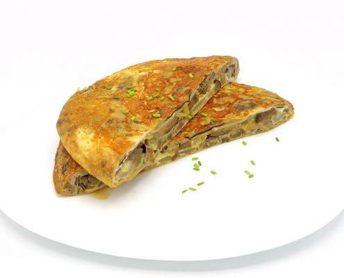 Tortilla de berenjena con cebolla