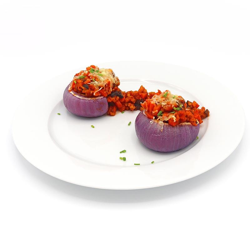 Cebollas moradas rellenas de boloñesa